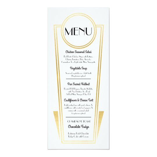 Elegant Art Deco Wedding Menu Gold White Reception