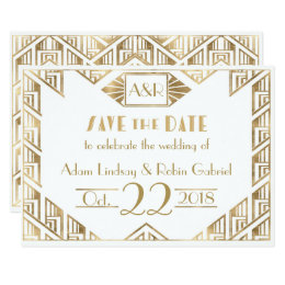 Art Deco Wedding Save The Date Cards & Invitations