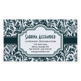 Elegant Art Nouveau Arts and Crafts Green Pattern Business Cards