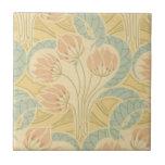 elegant art nouveau flowers floral small square tile