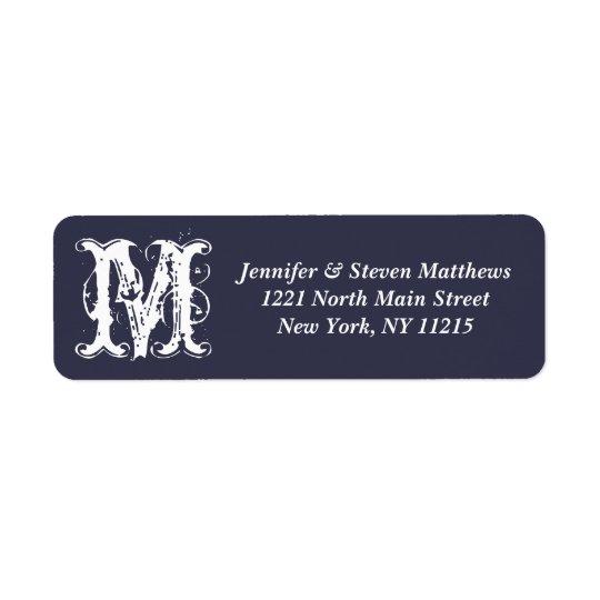 Elegant & Artistic Navy Blue White Monogram Names Return Address Label