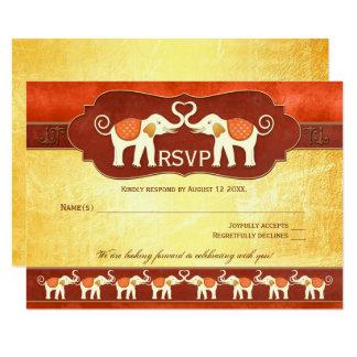 Elegant Asian White Elephants Wedding RSVP Card