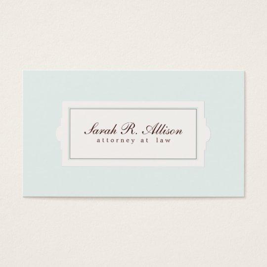 Elegant Attorney Plaque Style Light Blue Business Card