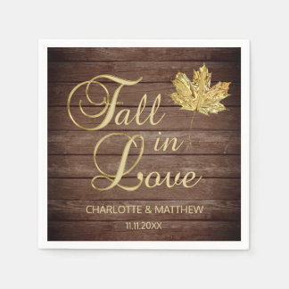 Elegant Autumn Fall in Love Rustic Country Wedding Disposable Napkins