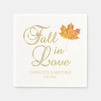 Elegant Autumn Fall in Love White Color Wedding Disposable Napkin