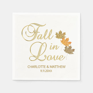 Elegant Autumn Fall in Love White Color Wedding Paper Napkins