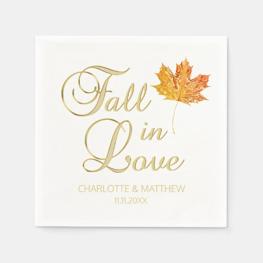 Elegant Autumn Fall in Love White Colour Wedding Disposable Napkin