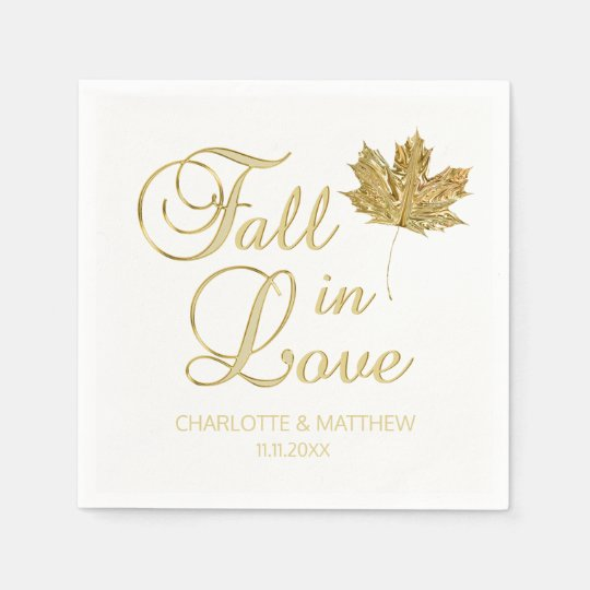 Elegant Autumn Fall in Love White Gold Wedding Paper Napkins