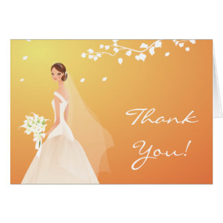Elegant Autumn Gold Bride Thank You Note Card