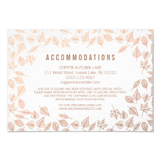 Elegant Autumn Leaves Copper Accommodation Card