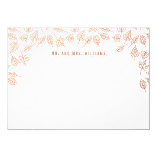 Elegant Autumn Leaves Copper Custom Stationery Card