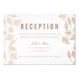 Elegant Autumn Leaves Copper Reception Card