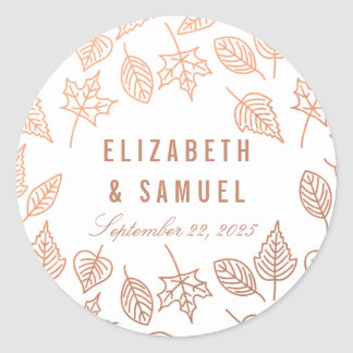 Elegant Autumn Leaves Copper Round Wedding Sticker