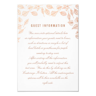 Elegant Autumn Leaves Copper Wedding Insert Card 9 Cm X 13 Cm Invitation Card