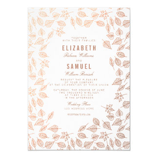 Elegant Autumn Leaves Copper Wedding Invitation
