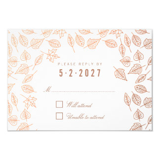 Elegant Autumn Leaves Copper Wedding RSVP Card 9 Cm X 13 Cm Invitation Card