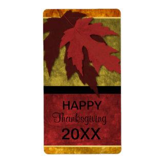 Elegant Autumn Leaves Thanksgiving Wine Label