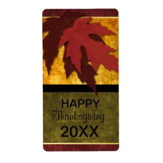 Elegant Autumn Leaves Thanksgiving Wine Label Shipping Label