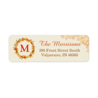 Elegant Autumn Leaves Wreath Monogram Return Address Label