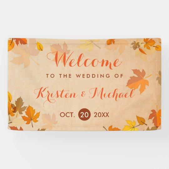 Elegant Autumn Maple Leaves Fall Wedding Banner