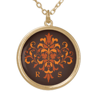 Elegant Autumn monogram Gold Plated Necklace