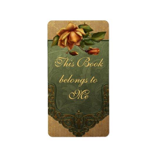 Elegant Autumn Rose Bookplate Label