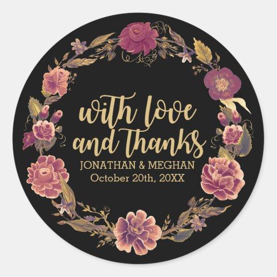 Elegant Autumn Wreath Thank You Wedding, Black Classic