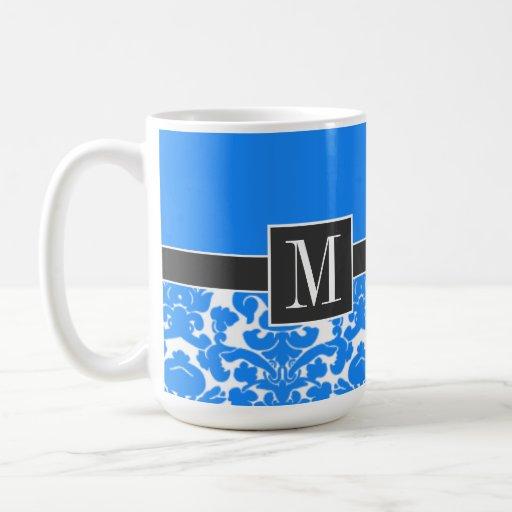 Elegant Azure Blue Damask Mugs
