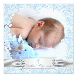 Elegant Baby Blue Christening 13 Cm X 13 Cm Square Invitation Card