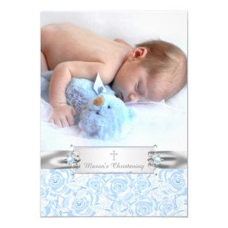 Elegant Baby Blue Christening 13 Cm X 18 Cm Invitation Card