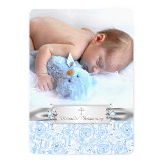 Elegant Baby Blue Photo Christening 13 Cm X 18 Cm Invitation Card