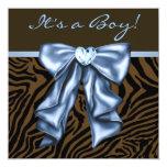 Elegant Baby Blue Zebra Baby Boy Shower Personalized Announcement