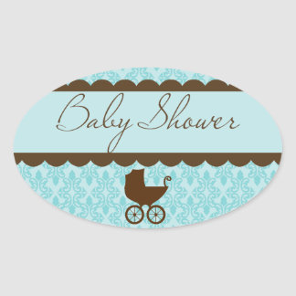 Elegant Baby Shower Carriage and Blue Damask Oval Sticker