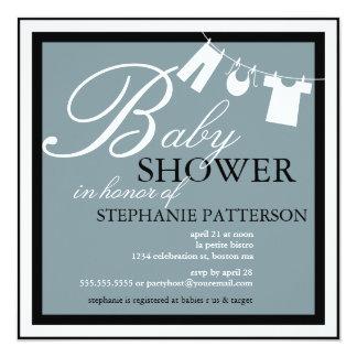 Elegant Baby Shower Clothes Line Blue Invitation