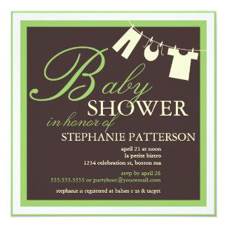 Elegant Baby Shower Clothes Line Green Invitation