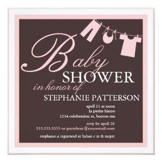 Elegant Baby Shower Clothes Line Pink Invitation