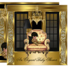 Elegant Baby Shower Damask Chandelier Gold Chair 3 Card