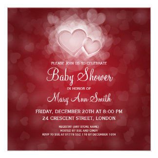 Elegant Baby Shower Modern Hearts Red Personalized Invite