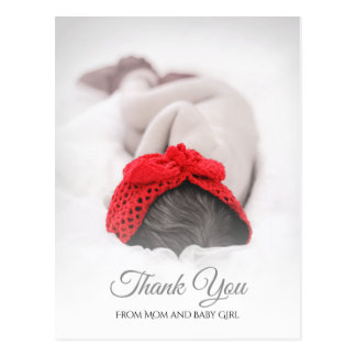 Elegant Baby Shower Newborn Photo Thank You Postcard