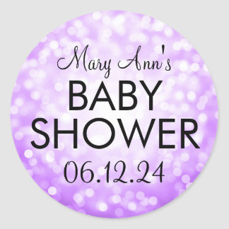 Elegant Baby Shower Purple Glitter Lights Round Sticker