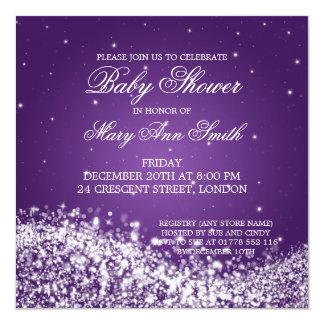 Elegant Baby Shower Sparkling Wave Purple Card