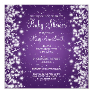 Elegant Baby Shower Winter Sparkle Purple Card