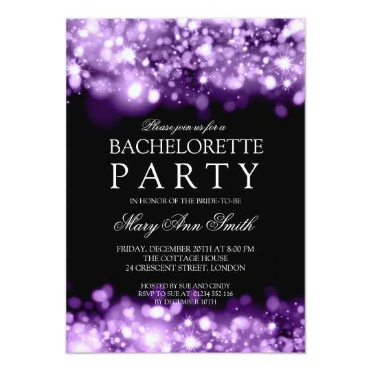 Elegant Bachelorette Party Sparkling Lights Purple Card