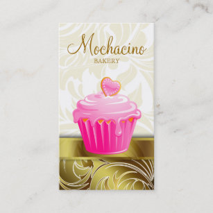 Muffin business cards zazzle uk elegant bakery business card cupcake pink gold reheart Choice Image