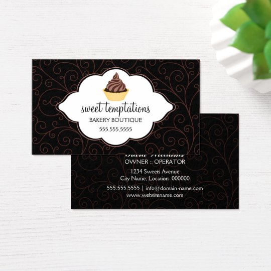 Elegant Bakery Cupcake Business Card