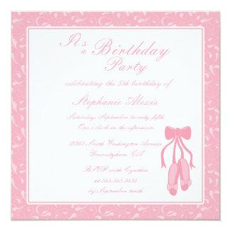 Elegant ballet slippers birthday party invitation