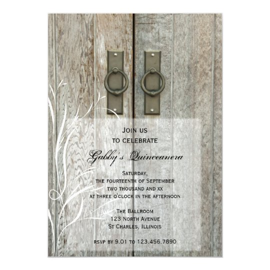 Elegant Barn Doors Quinceañera Party Invitation