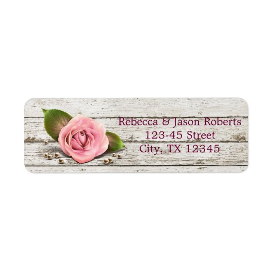 elegant barnwood pink rose  floral country wedding return address label