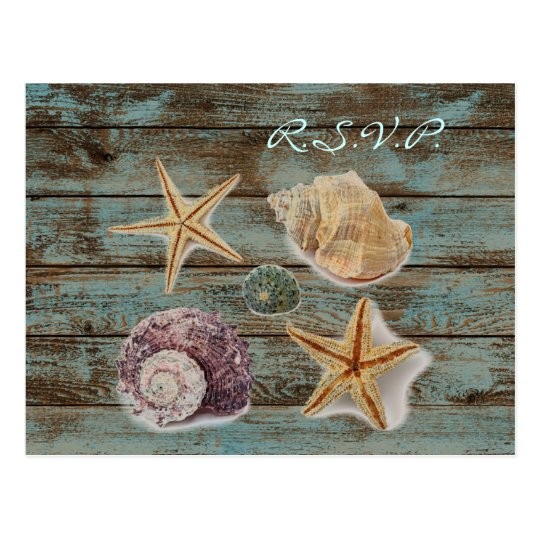 elegant barnwood seashells beach wedding rsvp postcard