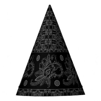ELEGANT BAROQUE BLACK PATTERN PARTY HATS